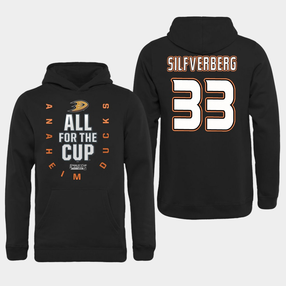 NHL Men Anaheim Ducks 33 Silfverberg Black All for the Cup Hoodie