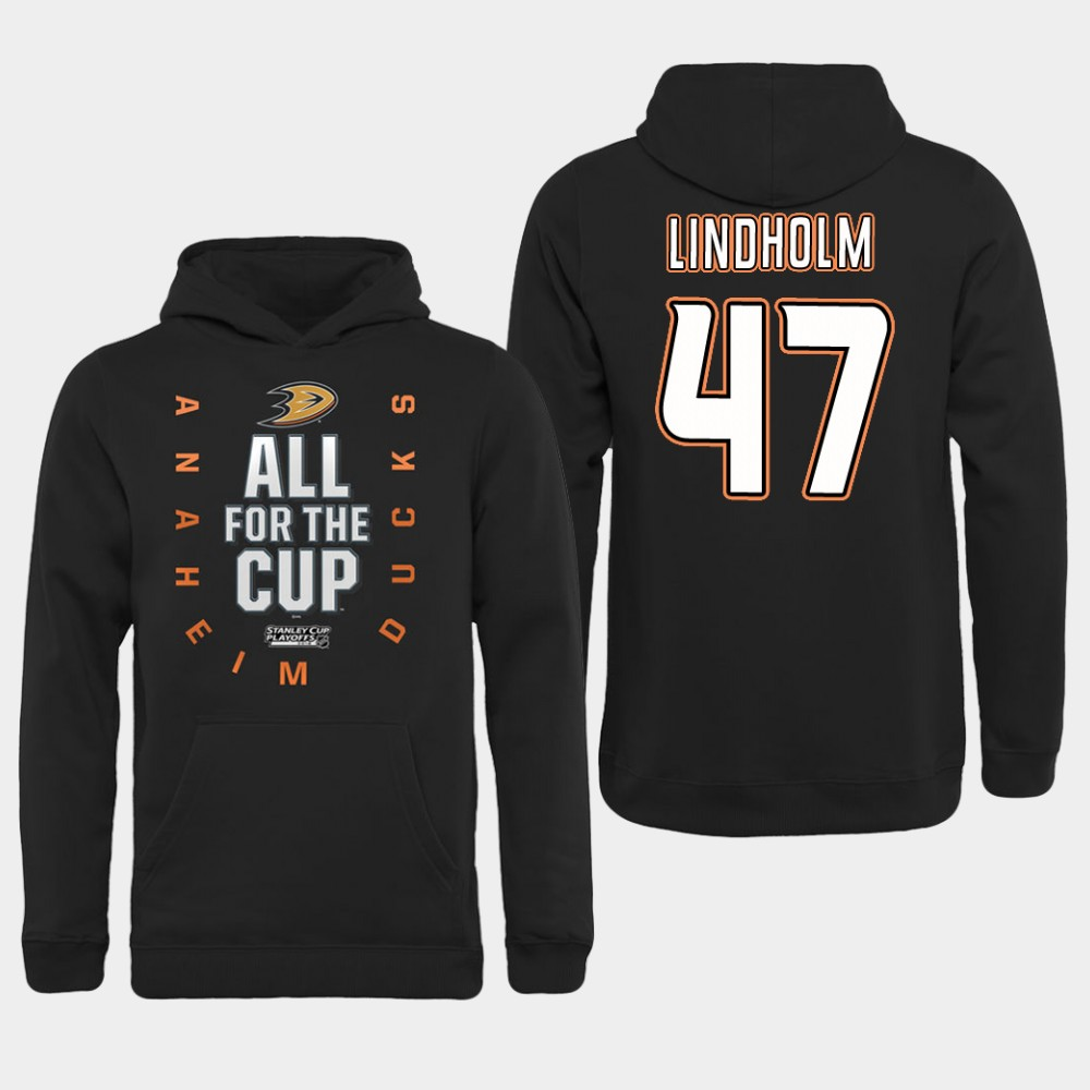 NHL Men Anaheim Ducks 47 Lindholm Black All for the Cup Hoodie