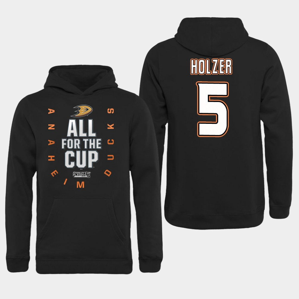 NHL Men Anaheim Ducks 5 Holzer Black All for the Cup Hoodie