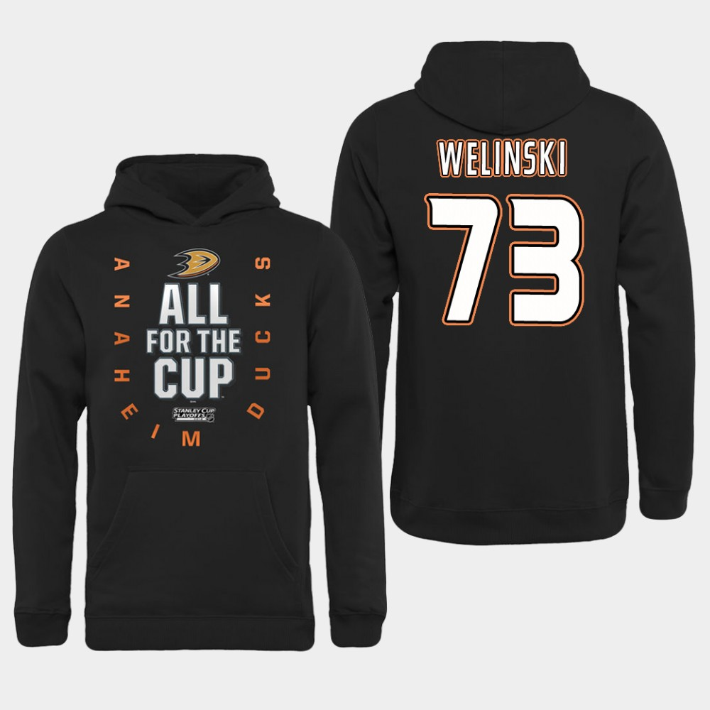 NHL Men Anaheim Ducks 73 Welinski Black All for the Cup Hoodie