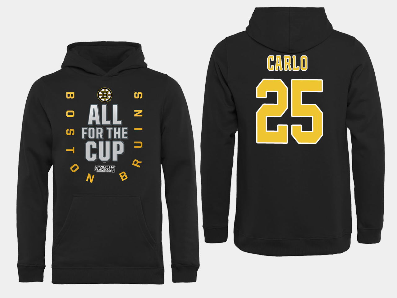 NHL Men Boston Bruins 25 Carlo Black All for the Cup Hoodie