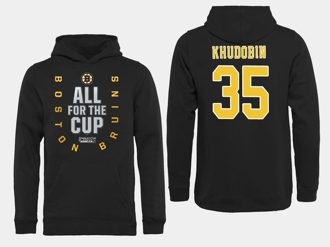 NHL Men Boston Bruins 35 Khudobin Black All for the Cup Hoodie