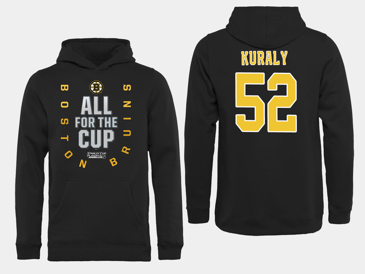 NHL Men Boston Bruins 52 Kuraly Black All for the Cup Hoodie