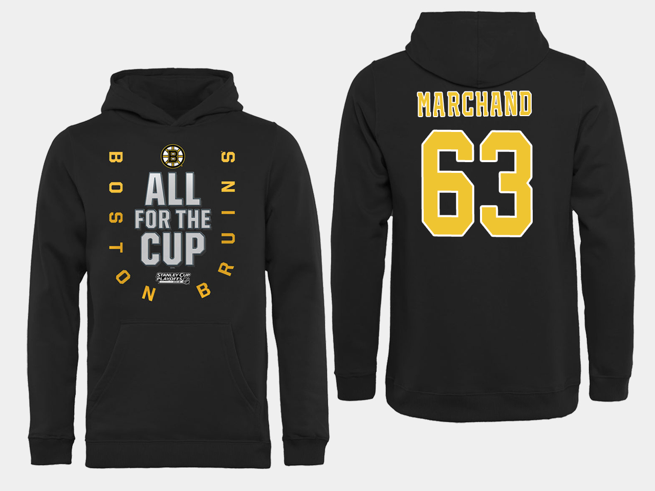NHL Men Boston Bruins 63 Marchand Black All for the Cup Hoodie