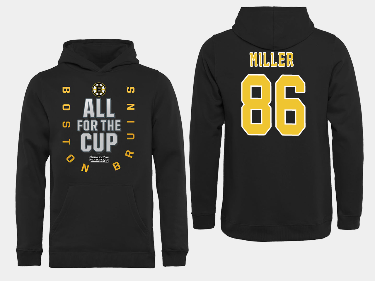 NHL Men Boston Bruins 86 Miller Black All for the Cup Hoodie
