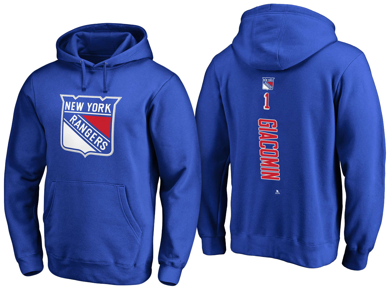 NHL Men New York Rangers 1 Giacomin blue Adidas Hoodie