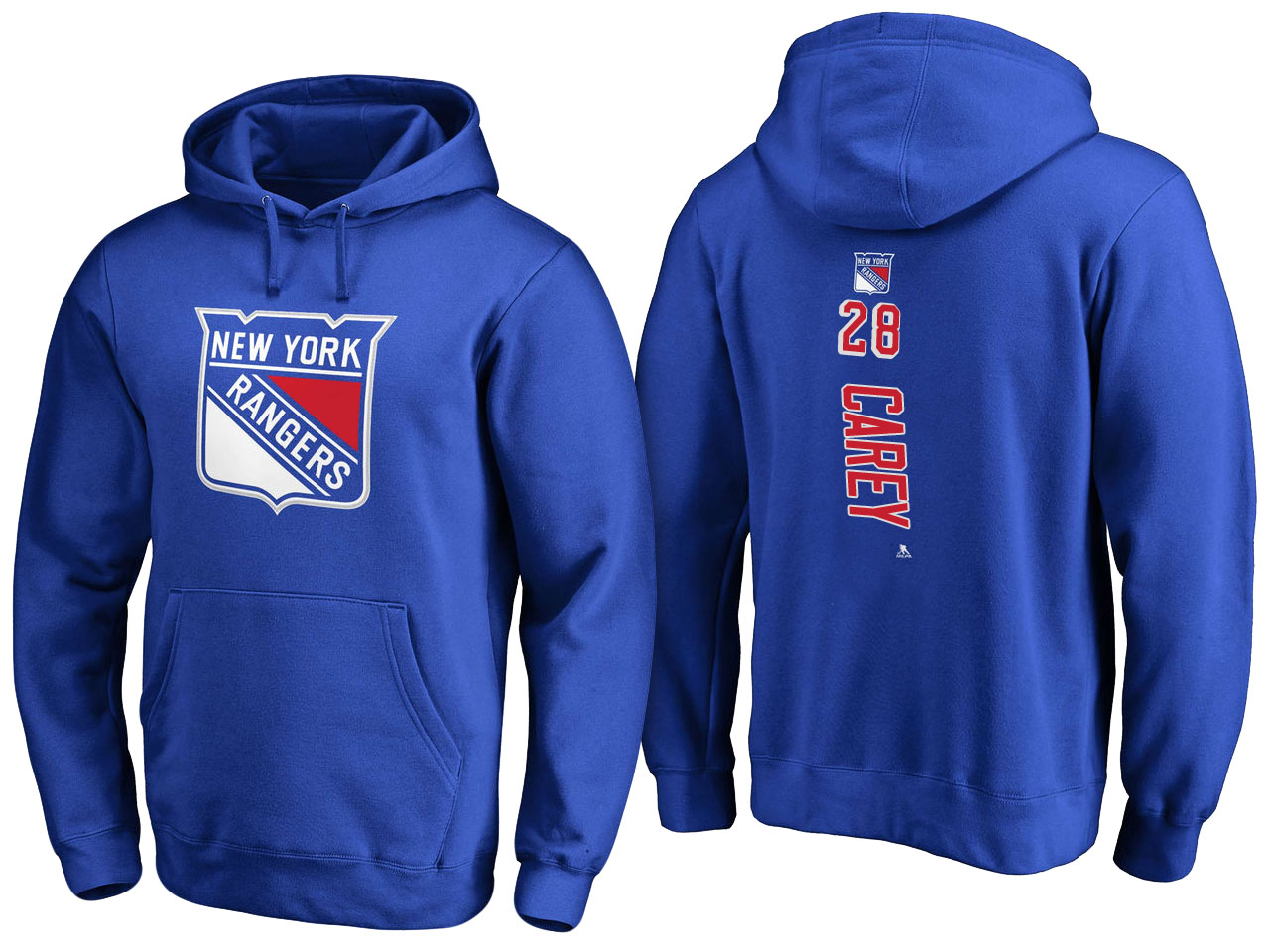 NHL Men New York Rangers 28 Carey blue Adidas Hoodie