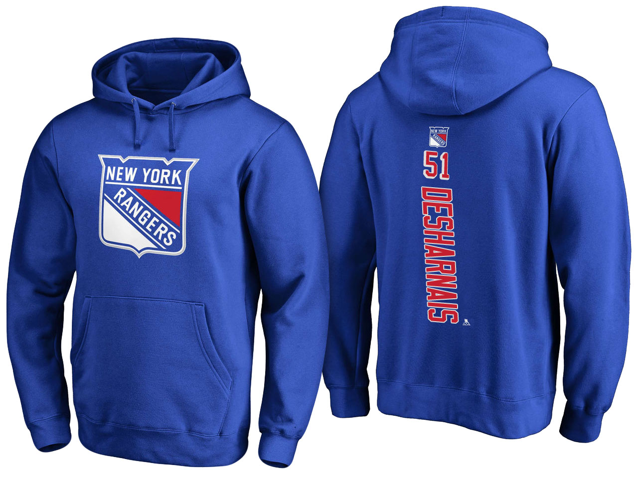 NHL Men New York Rangers 51 Desharnais blue Adidas Hoodie