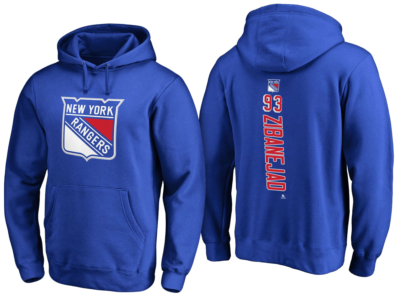 NHL Men New York Rangers 93 Zibanejad blue Adidas Hoodie