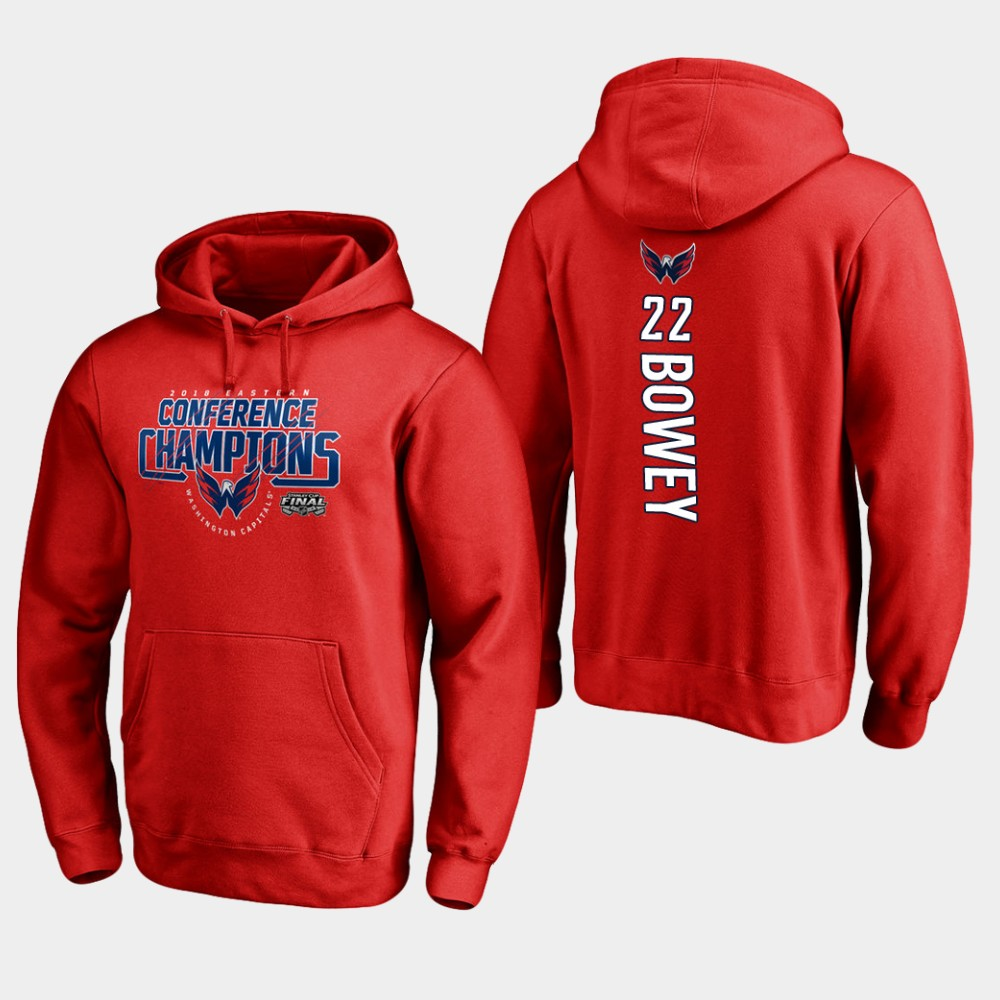 NHL Men Washington capitals 22 madison bowey 2018 eastern conference champions interference red hoodie