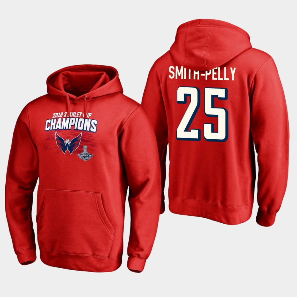 NHL Men Washington capitals 25 devante smith pelly 2018 stanley cup champions pullover hoodie