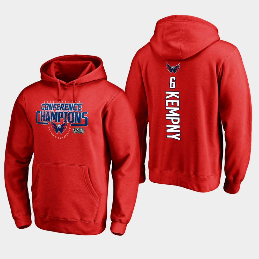 NHL Men Washington capitals 6 michal kempny 2018 eastern conference champions interference red hoodie