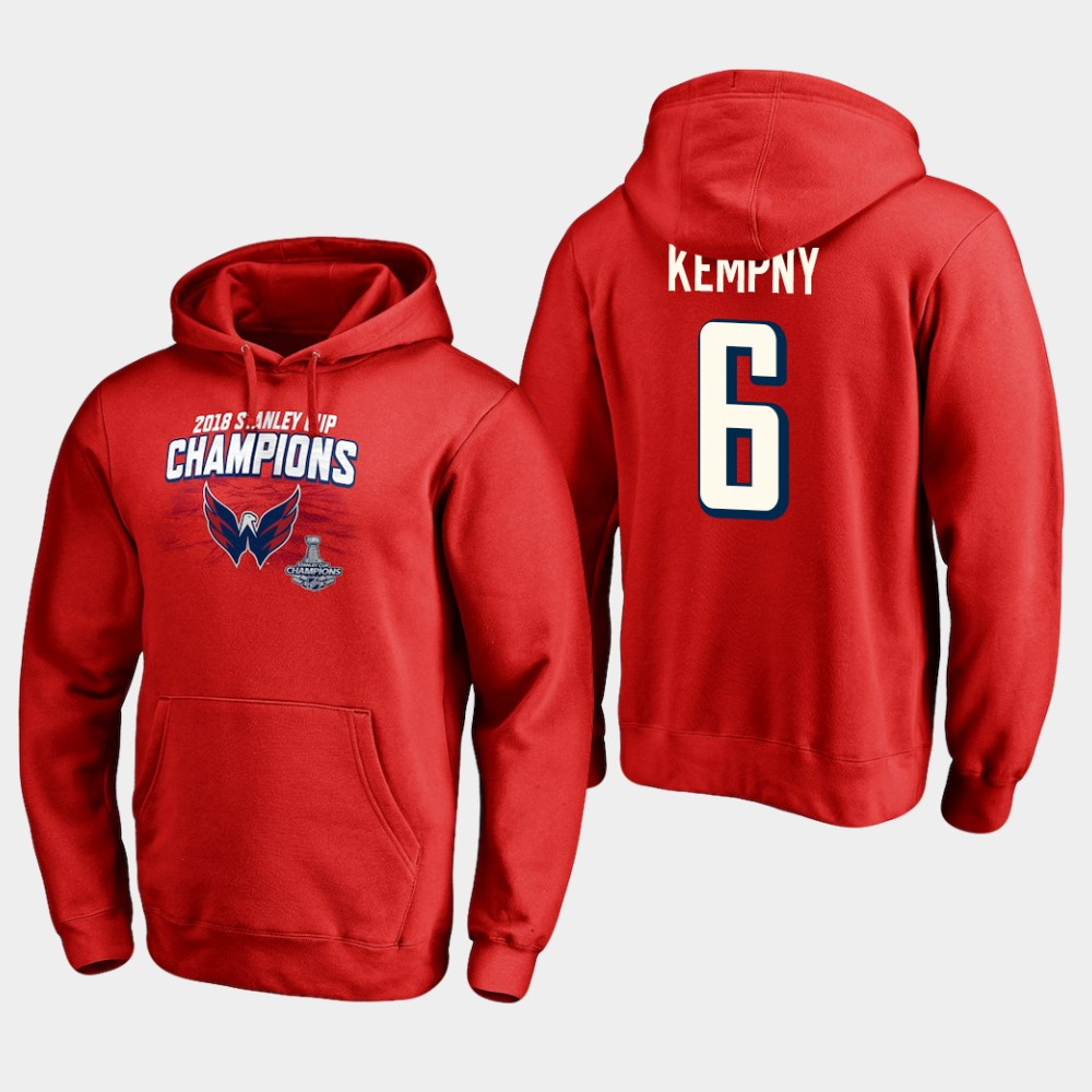 NHL Men Washington capitals 6 michal kempny 2018 stanley cup champions pullover hoodie