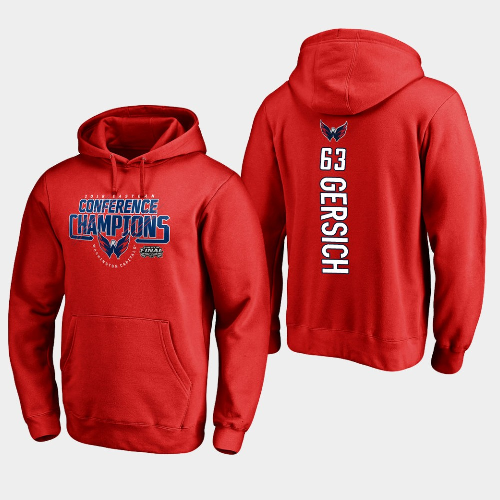 NHL Men Washington capitals 63 shane gersich 2018 eastern conference champions interference red hoodie