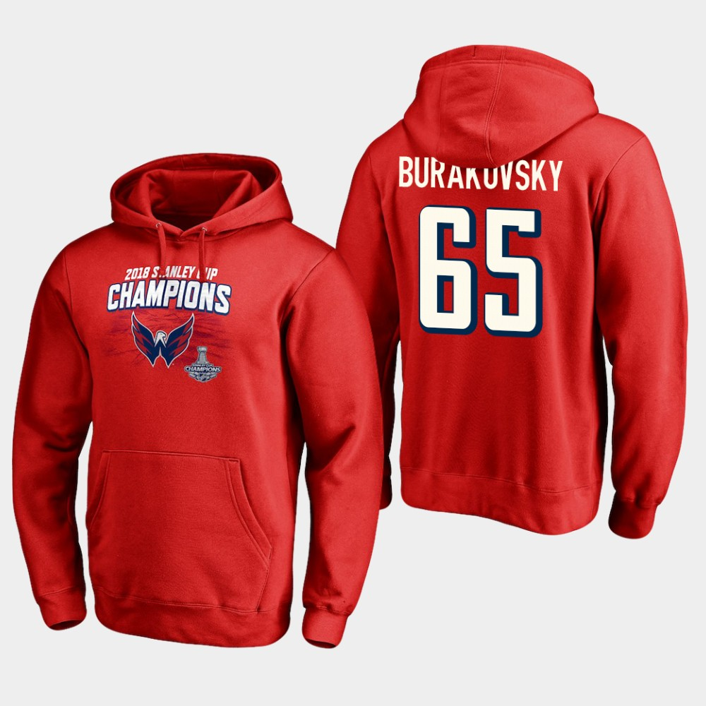 NHL Men Washington capitals 65 andre burakovsky 2018 stanley cup champions pullover hoodie