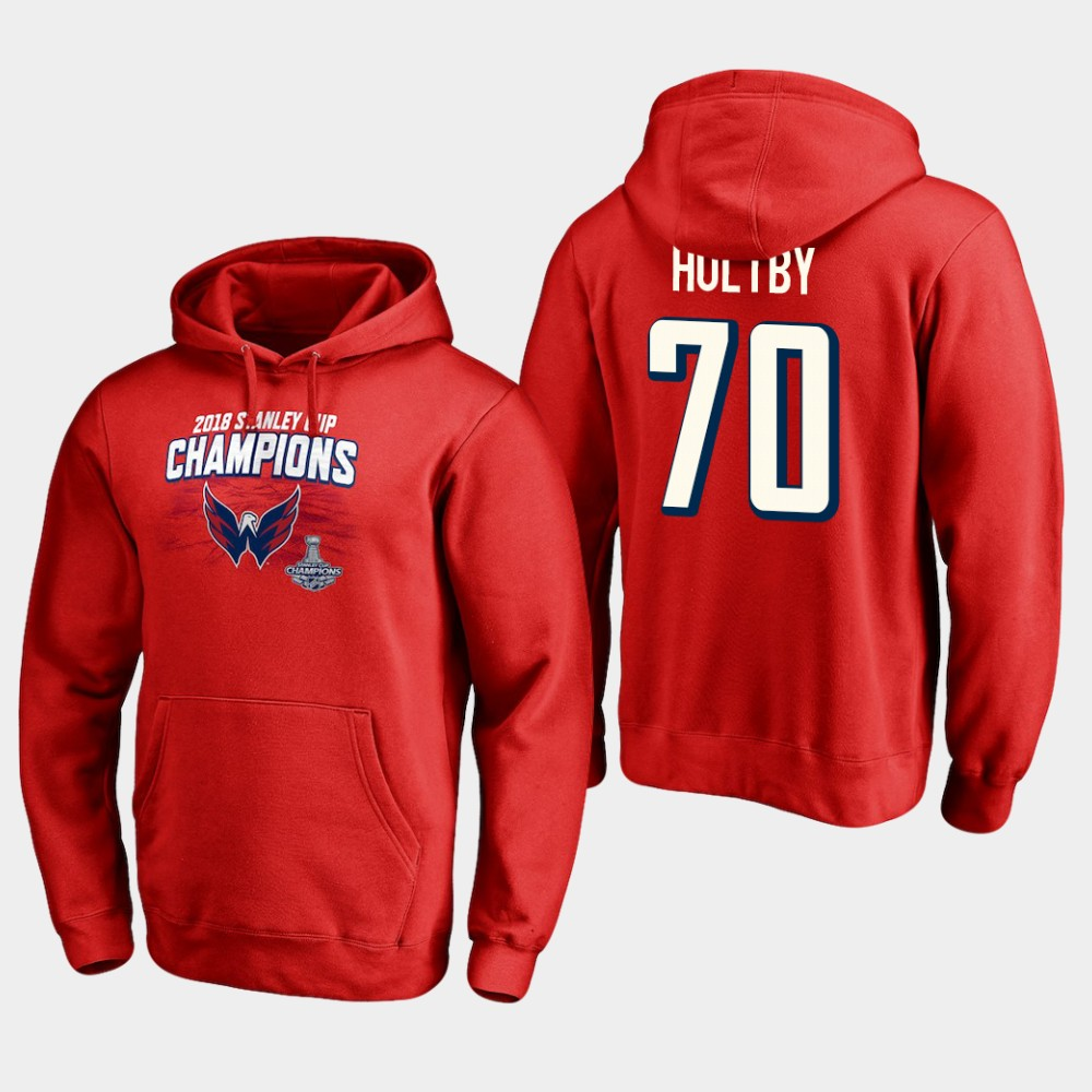 NHL Men Washington capitals 70 braden holtby 2018 stanley cup champions pullover hoodie