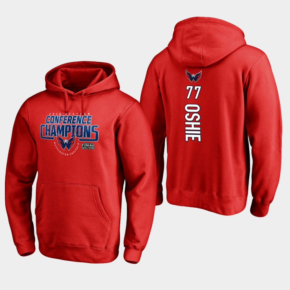 NHL Men Washington capitals 77 t.j. oshie 2018 eastern conference champions interference red hoodie
