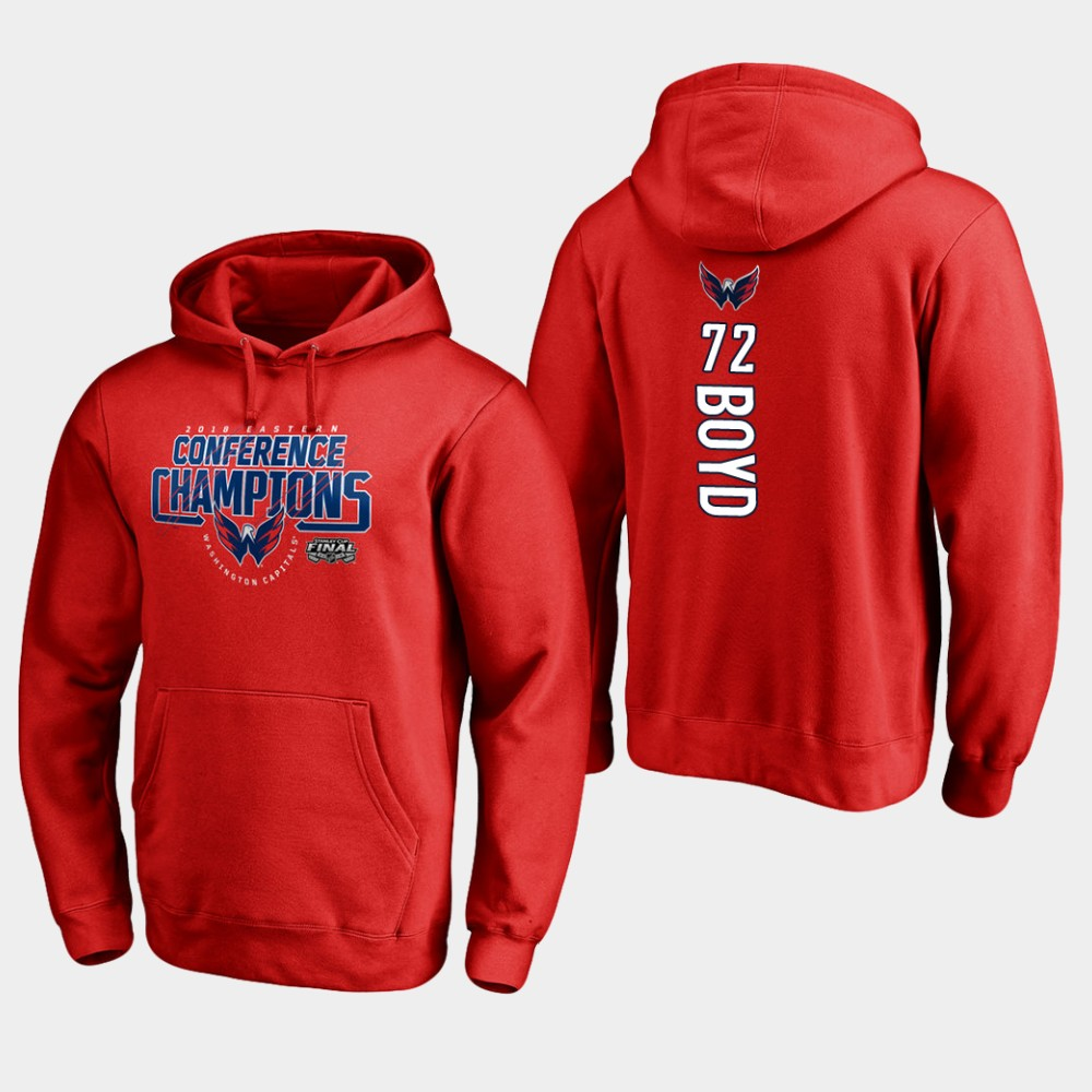 NHL Men Washington capitals72 travis boyd 2018 eastern conference champions interference red hoodie
