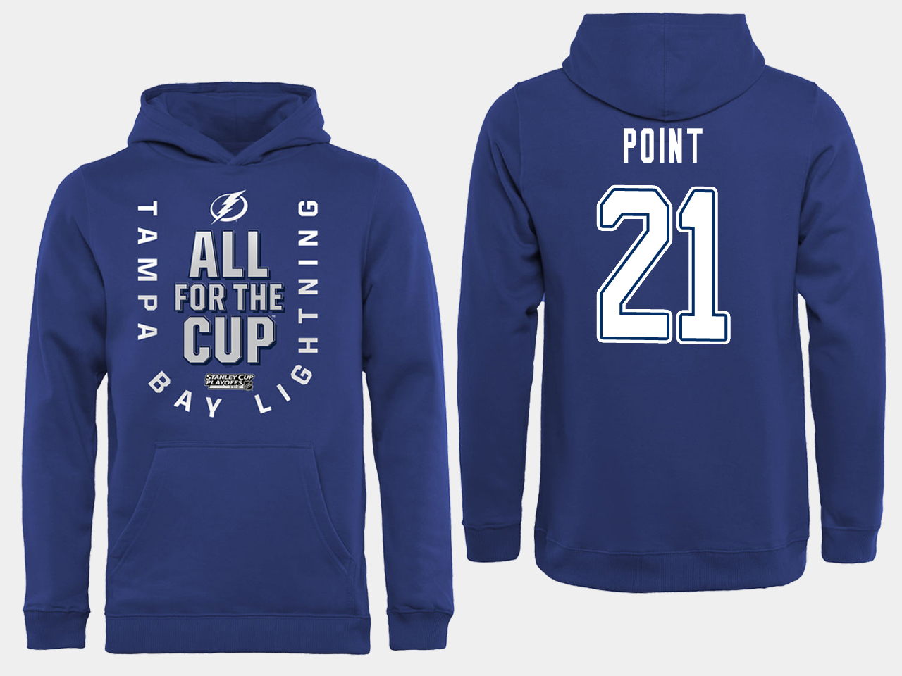 NHL Men adidas Tampa Bay Lightning 21 Point blue All for the Cup Hoodie