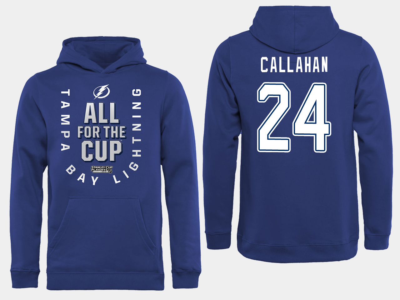 NHL Men adidas Tampa Bay Lightning 24 Callahan blue All for the Cup Hoodie