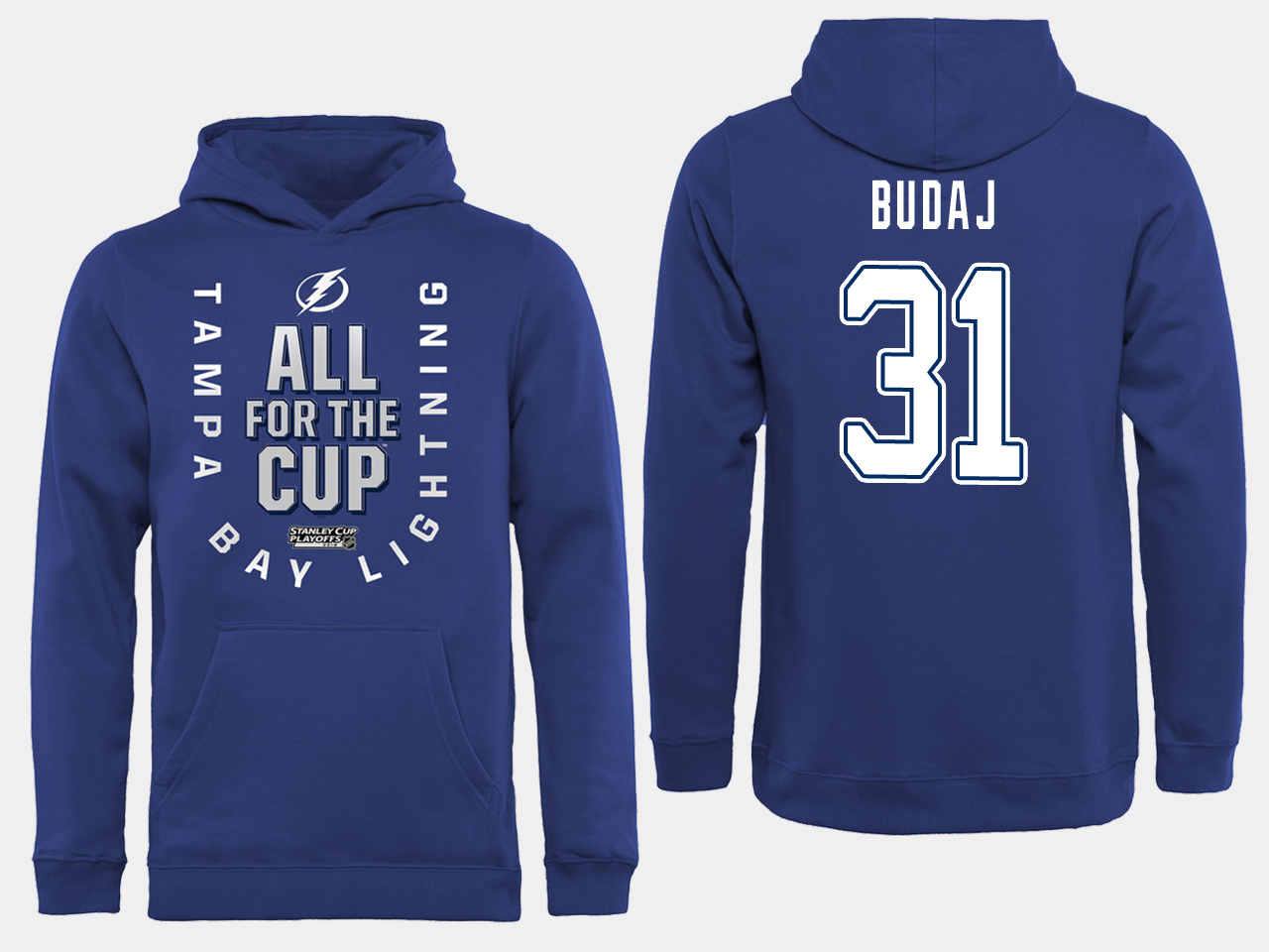 NHL Men adidas Tampa Bay Lightning 31 Budaj blue All for the Cup Hoodie
