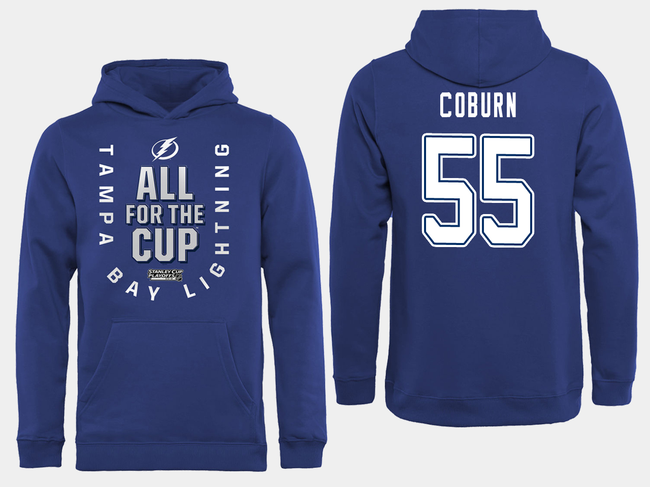 NHL Men adidas Tampa Bay Lightning 55 Coburn blue All for the Cup Hoodie