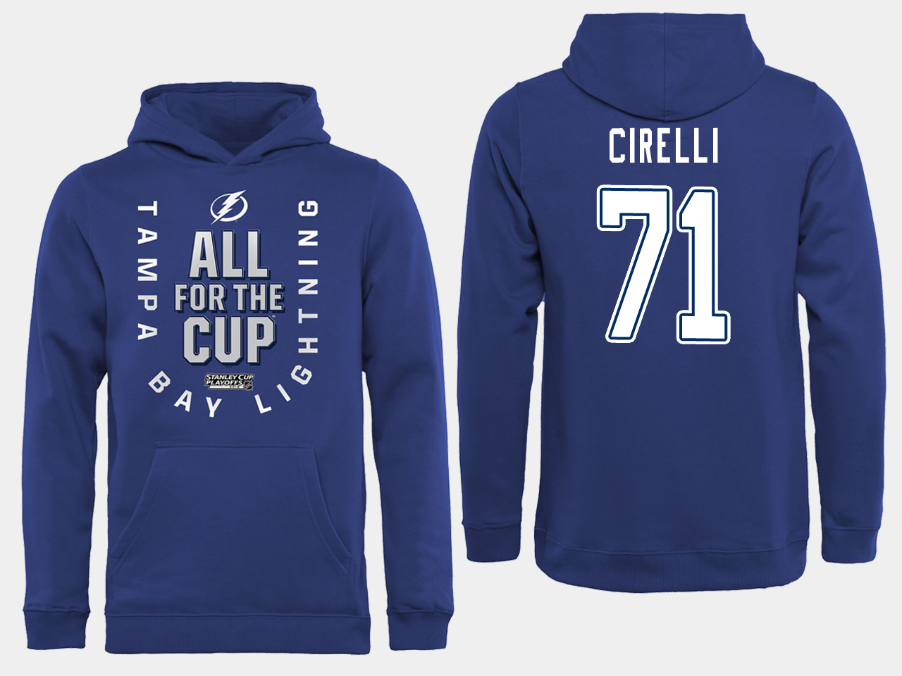 NHL Men adidas Tampa Bay Lightning 71 Cirelli blue All for the Cup Hoodie