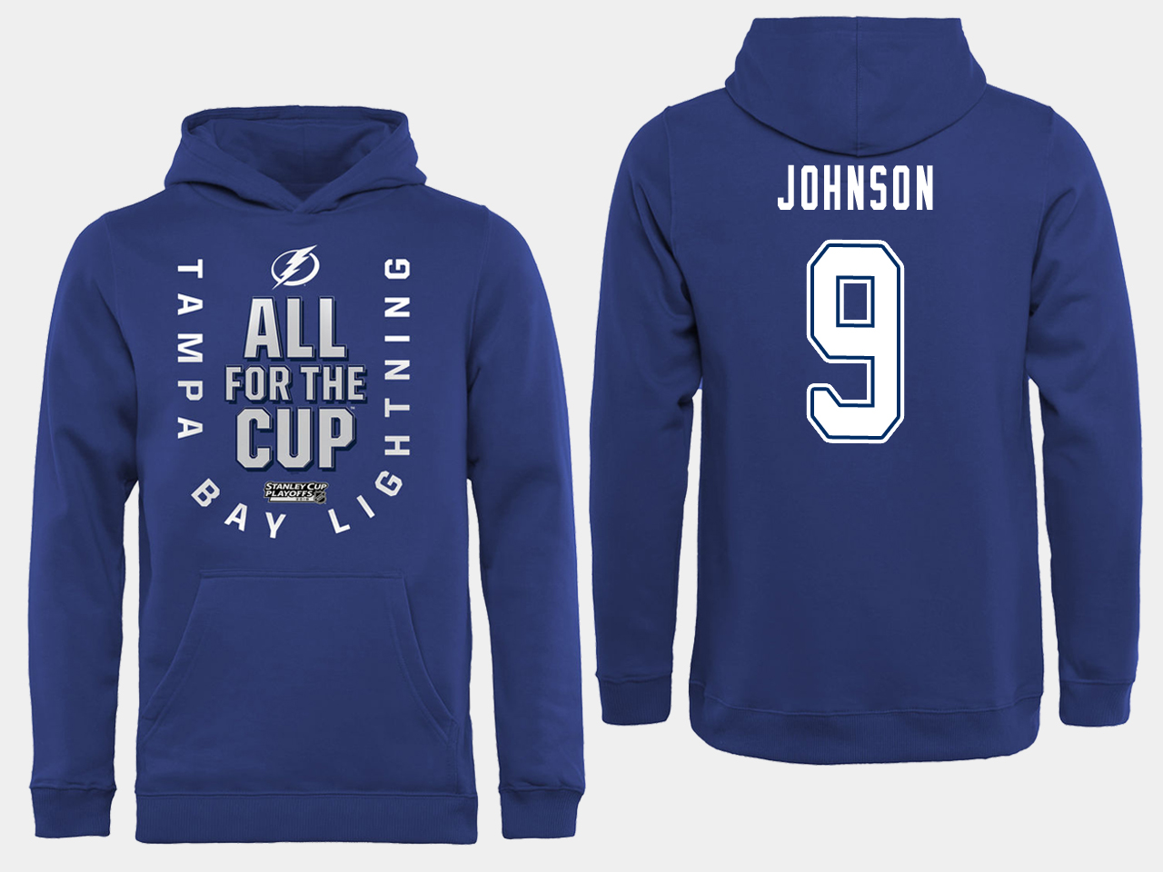 NHL Men adidas Tampa Bay Lightning 9 Johnson blue All for the Cup Hoodie