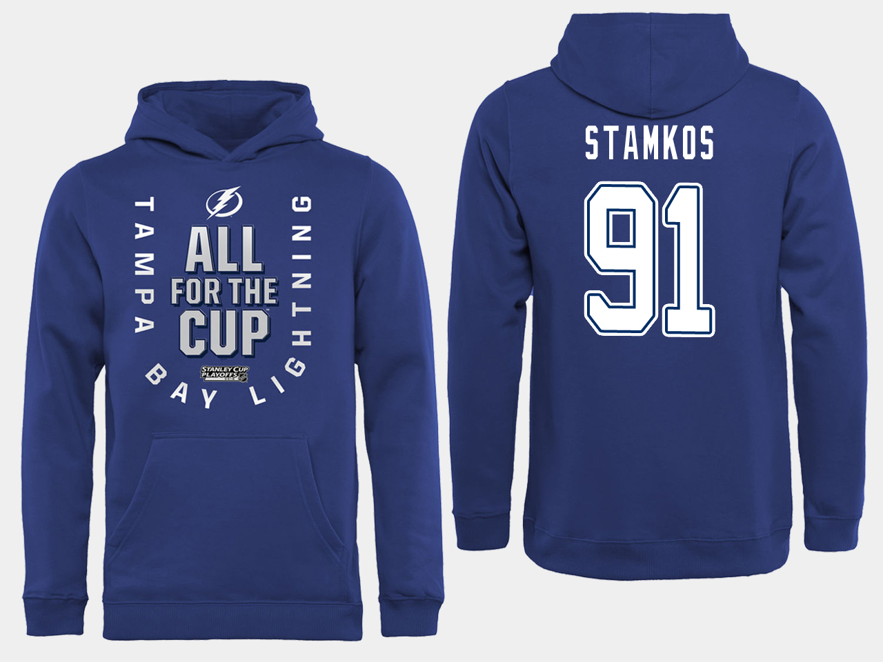 NHL Men adidas Tampa Bay Lightning 91 Stamkos blue All for the Cup Hoodie