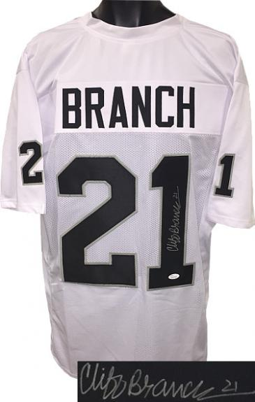 Men Oakland Raiders 21 Cliff Branch signed White Throwback unlicensed Custom Stitched Pro Style nfl Football Jersey