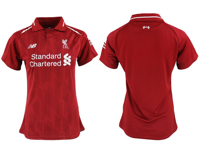 Women 2018-2019 club Liverpool aaa version home blank red soccer jersey