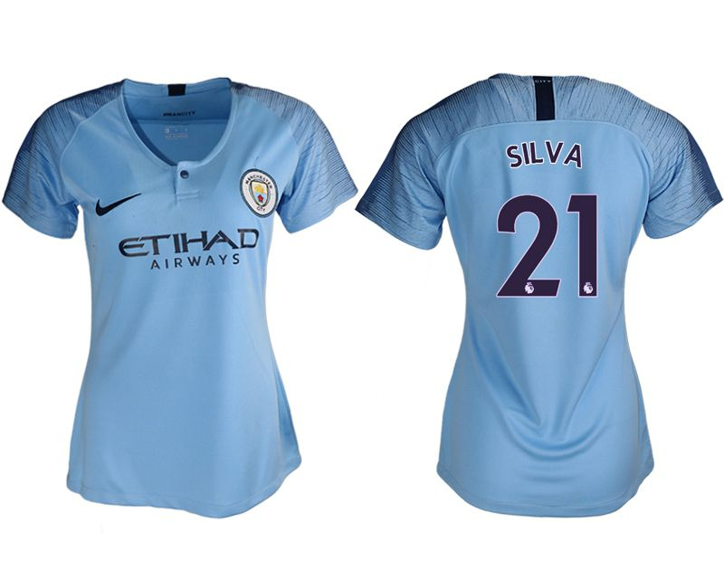 Women 2018-2019 club Manchester City aaa version home 21 blue soccer jersey