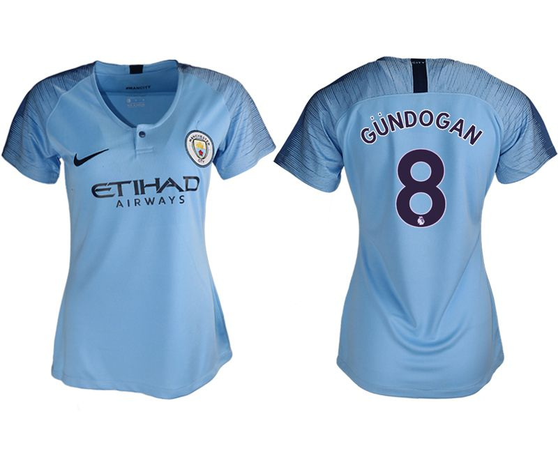 Women 2018-2019 club Manchester City aaa version home 8 blue soccer jersey