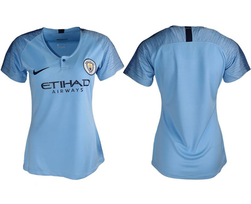 Women 2018-2019 club Manchester City aaa version home blank blue soccer jersey