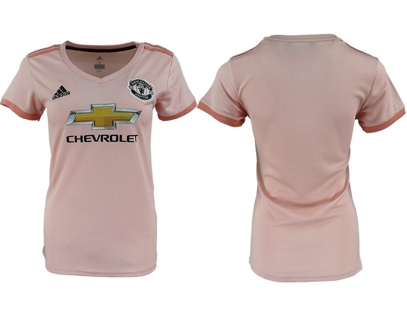 Women 2018-2019 club Manchester United aaa version away blank pink soccer jersey