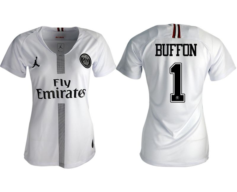 Women 2018-2019 club Paris St German Jordan aaa version away 1 white soccer jersey