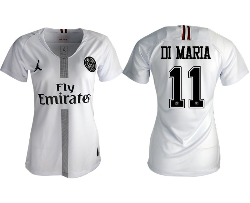 Women 2018-2019 club Paris St German Jordan aaa version away 11 white soccer jersey