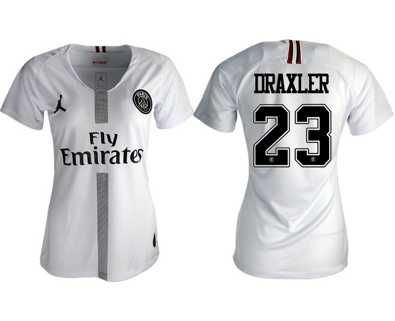 Women 2018-2019 club Paris St German Jordan aaa version away 23 white soccer jersey