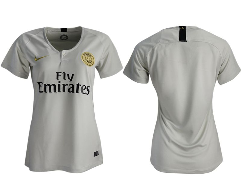 Women 2018-2019 club Paris St German aaa version away blank white soccer jersey
