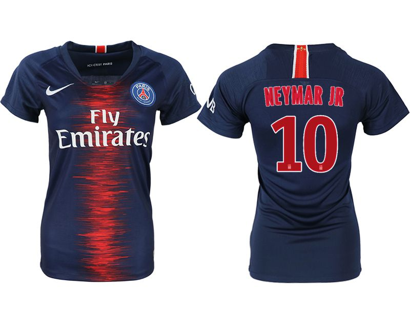 Women 2018-2019 club Paris St German aaa version home 10 blue soccer jersey