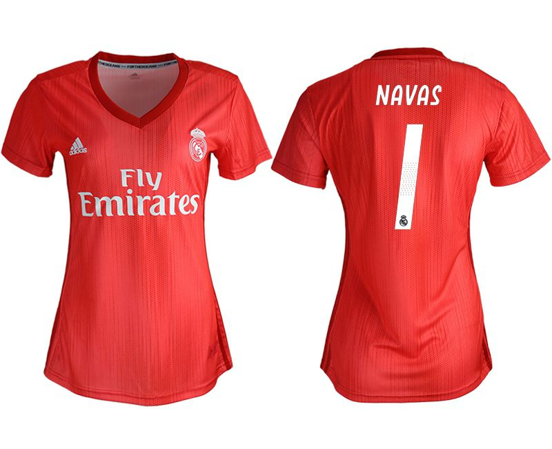 Women 2018-2019 club Real Madrid Second aaa version away 1 red soccer jersey