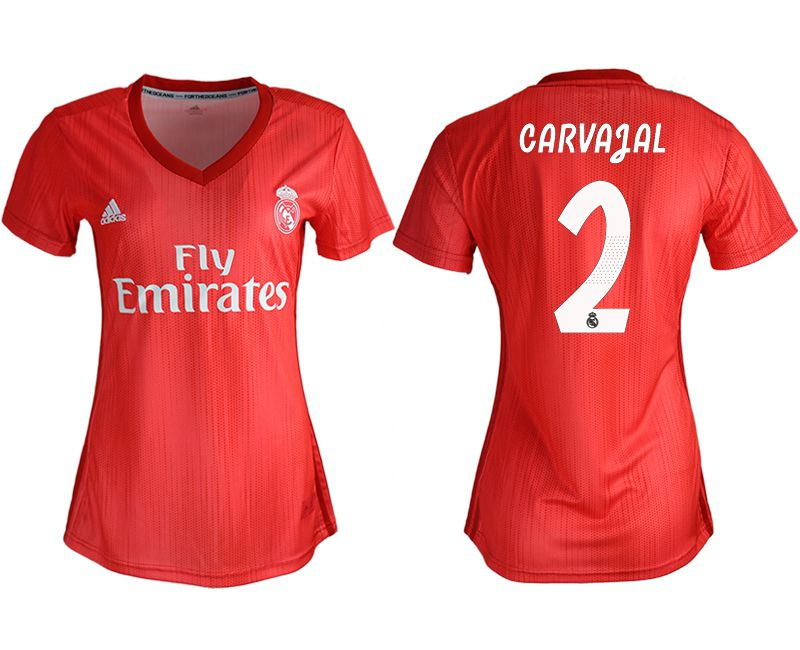 Women 2018-2019 club Real Madrid Second aaa version away 2 red soccer jersey