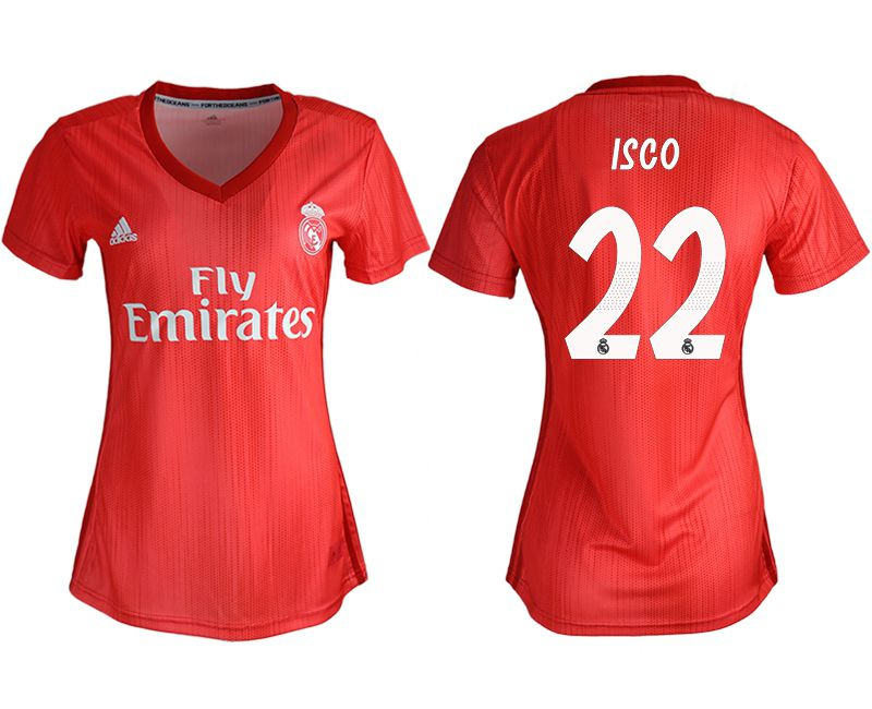 Women 2018-2019 club Real Madrid Second aaa version away 22 red soccer jersey