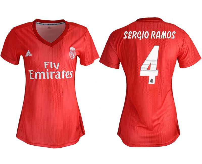 Women 2018-2019 club Real Madrid Second aaa version away 4 red soccer jersey