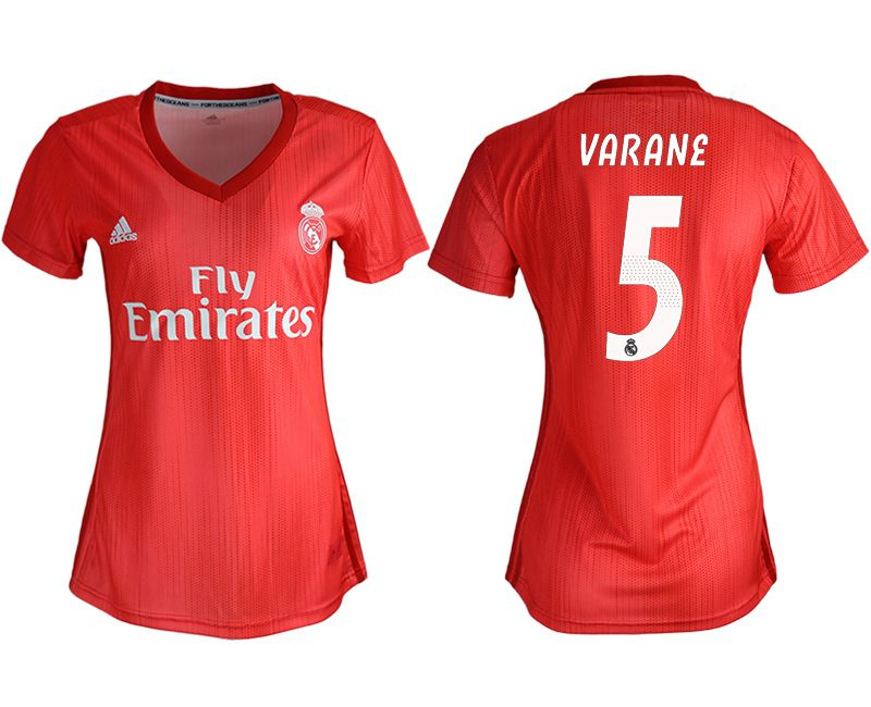 Women 2018-2019 club Real Madrid Second aaa version away 5 red soccer jersey