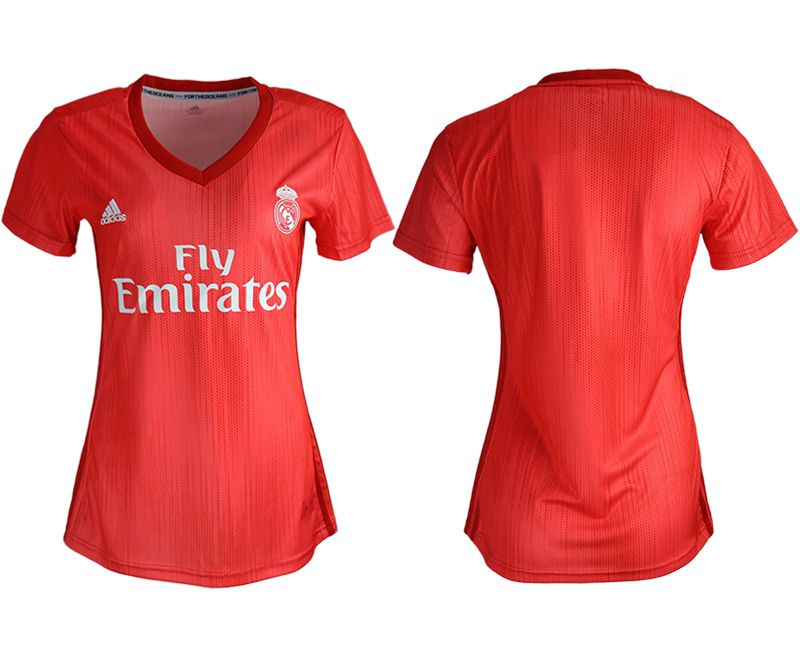 Women 2018-2019 club Real Madrid Second aaa version away blank red soccer jersey