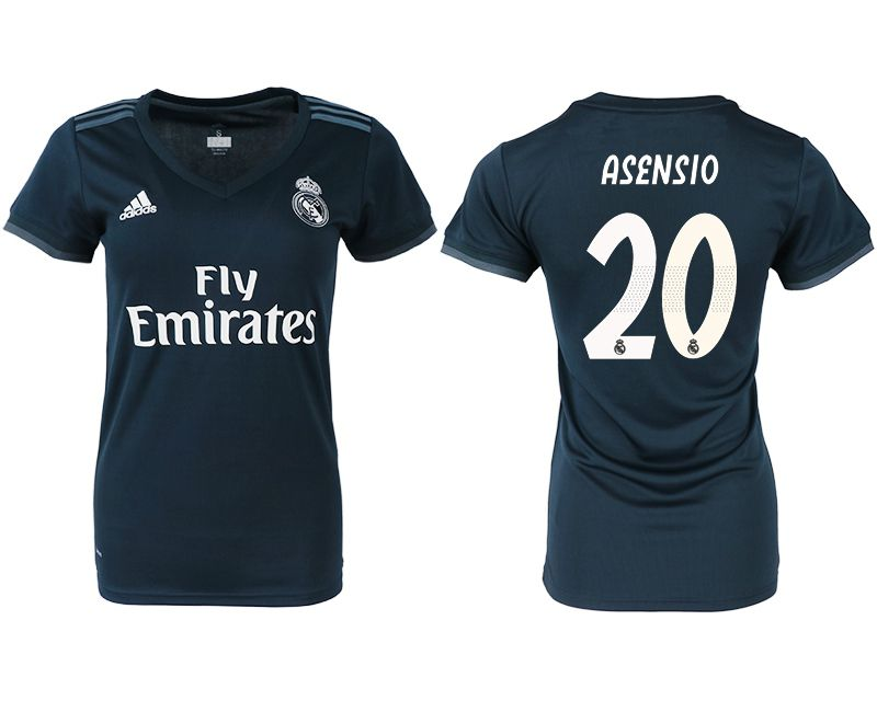 Women 2018-2019 club Real Madrid aaa version away 20 blue soccer jersey