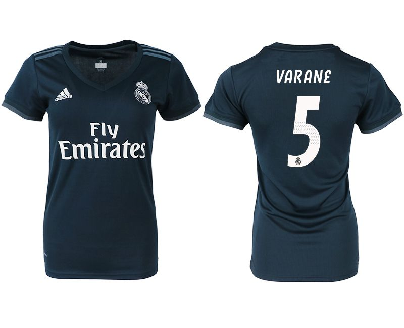 Women 2018-2019 club Real Madrid aaa version away 5 blue soccer jersey