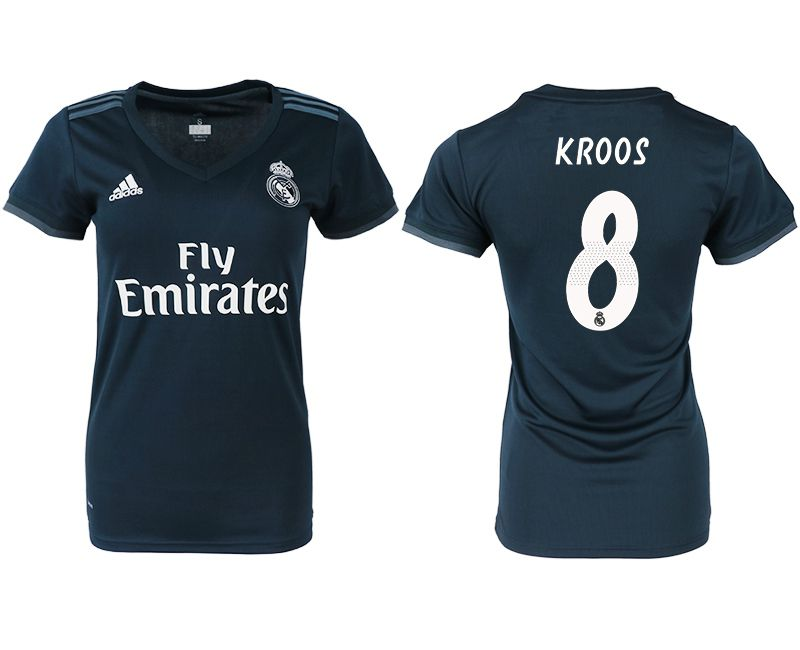 Women 2018-2019 club Real Madrid aaa version away 8 blue soccer jersey