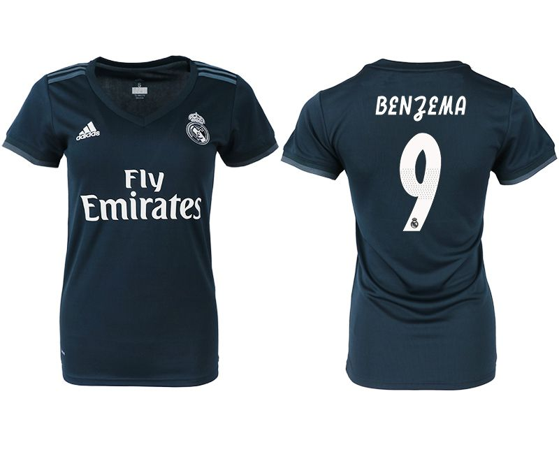Women 2018-2019 club Real Madrid aaa version away 9 blue soccer jersey